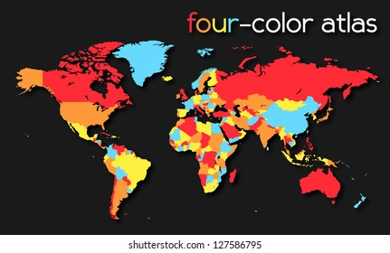Four-color World Map | EPS10 Vector