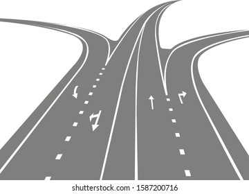 Four-lane highway on a white background.