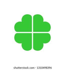 Four-leaf clover, Leaf clover sign icon.