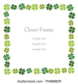 Four-leaf clover square frame, vector illustration.