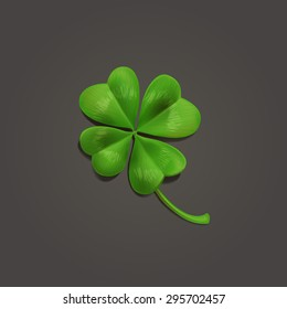 Four-leaf realistic lucky clover leaf on dark background. Vector illustration