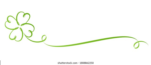 four-leaved clover calligraphy design with curled trail