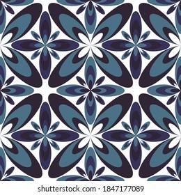 Four-petal flower portuguese azulejos tiles seamless pattern. Carpet print design. Ethnic geometric floral ornament. Arabesque quatrefoil flowers seamless background. Decorative tiles.