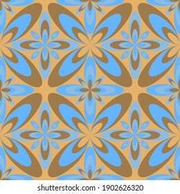 Four-petal flower portuguese azulejos tiles seamless pattern. Curtains print design. Artistic geometric floral ornament. Arabesque four-petal flowers seamless background. Decorative tiles.