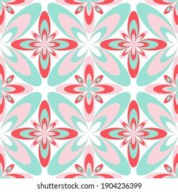 Four-petal flower portuguese azulejos tiles seamless pattern. Curtains print design. Artistic geometric floral ornament. Arabesque quatrefoil flowers seamless background. Decorative tiles.