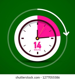 Fourteen 14 Minutes Vector Analog Stopwatch Clock Icon. Time Counter Symbol.