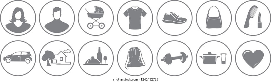 Fourteen service icons for online store. Vector