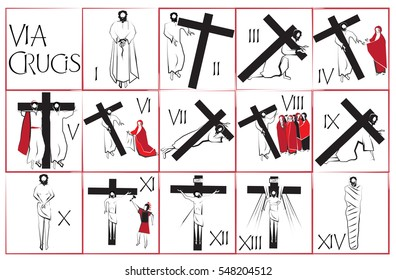 Fourteen traditional stations of the Way of the cross (Via crucis). Simple abstract vector symbols for each of the stations.
