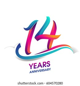 fourteen years anniversary celebration logotype blue and red colored. 14th birthday logo on white background.