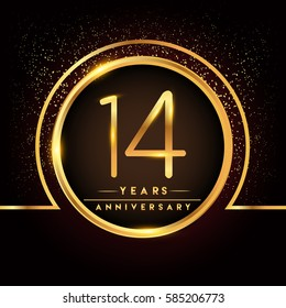 fourteen years birthday celebration logotype. 40th anniversary logo with confetti and golden ring isolated on black background, vector design for greeting card and invitation card.