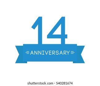 to fourteen-year anniversary, the label icon, element ribbon, greeting cards, banners and tags