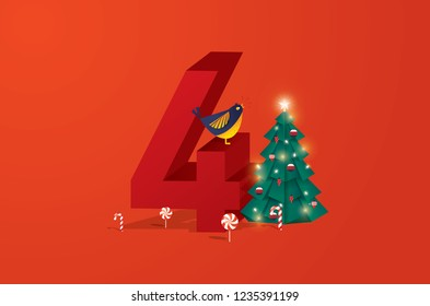 the fourth day of christmas of twelve days of Christmas/advent calendar greetings template vector/illustration