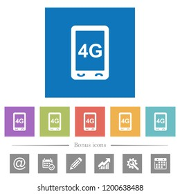 Fourth generation mobile connection speed flat white icons in square backgrounds. 6 bonus icons included.