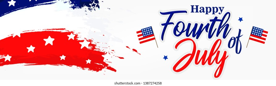 Fourth of July. 4th of July holiday banner. Happy 4th of July USA Independence Day greeting card with waving american national flag and hand lettering text design. Vector illustration. - Vector