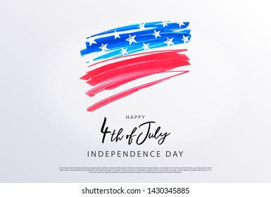 Fourth of July. 4th of July holiday banner. Stylized image of the American flag, drawn by markers. USA Independence Day background for sale, discount, advertisement, web. Place for your text.