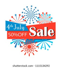 Fourth of July American Independence Day Sale ribbon with fireworks, vector illustration