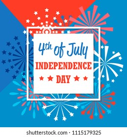 Fourth of July American Independence Day banner with fireworks, frame and text, vector illustration