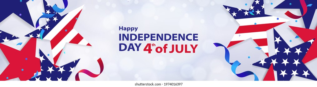 Fourth of July background. 4th of July holiday long horizontal banner, or header for website. USA Independence Day Decoration elements - confetti stars in national colors isolated on background.