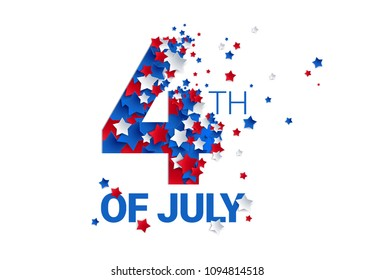 Fourth of July background - American Independence Day vector illustration - 4th of July typographic design USA
