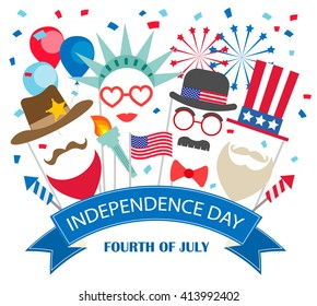Fourth of July  background with booth props, fireworks, flags, balloons, confetti. Statue of liberty, Uncle Sam costumes.Can be used for 4th july Independence Day party invitation, card, flyer, poster