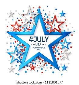 Fourth of july background with frame, on white background and, stars  in american flag colors, design for greeting cards and posters. EPS 10 contains transparency.