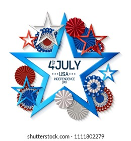 Fourth of july background with star shape frame, on white background, stars and rosettes, in american flag colors, design for greeting cards and posters. EPS 10 contains transparency.