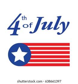 Fourth of July celebration simple illustration USA independence day.