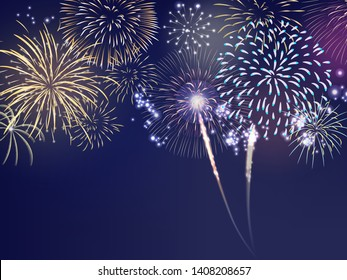 fourth of July colorful firework set bursting in the blue sky at night in vector illustration. Concept for background template for celebration festive seasonal
