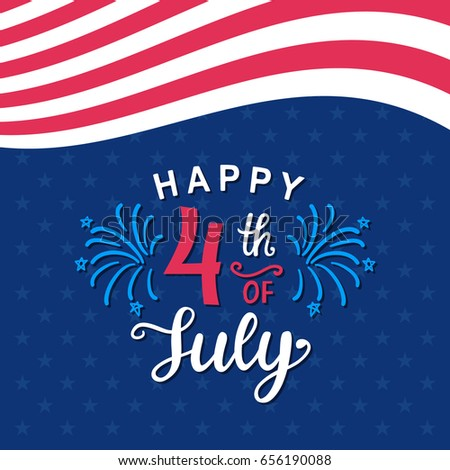 7d12fdc4672f3a Fourth July Hand Written Ink Lettering Stock Vector (Royalty Free ...