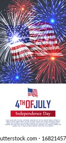 Fourth of July happy independence day vertical banner. Celebration flyer with USA flag and realistic dazzling display of fireworks. National patriotic and political holiday poster vector illustration.