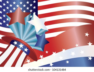 Fourth of July Hat with Bursting Stars and Stripes and US Flag Illustration