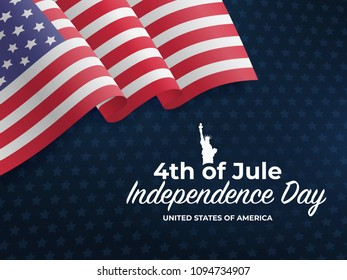 Fourth of July Independence Day 2018. United States waving flag. Fourth of July celebrate. 4th of Jule. Template for website banner, poster and advertisement. Blue background with stars and US flag