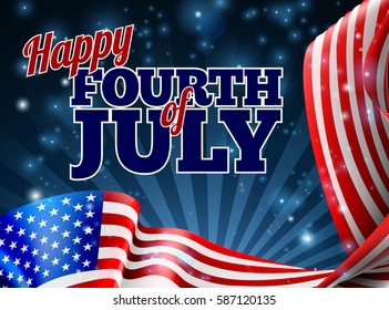 A Fourth of July Independence Day background with an American Flag border design