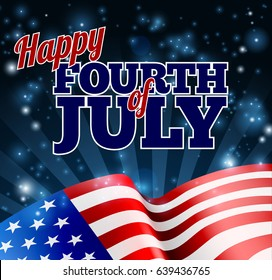 A Fourth of July Independence Day background with an American Flag