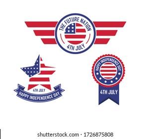 4. Juli Unabhängigkeitstag Abzeichen. Vektor-Abbildung
