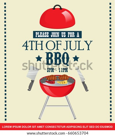 fourth july independence day barbecue invitation のベクター画像素材
