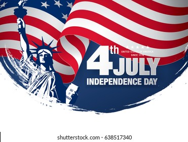 Fourth of July Independence Day, brush stroke background