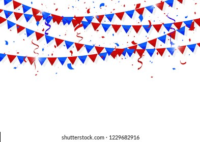 Fourth of July Independence Day. Colorful bunting flags with Confetti and ribbons. Vector illustration