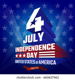Fourth of July Independence Day greeting card, poster. July 4th typographic design. Patriotic banner for website template. Vector illustration.