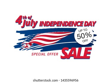 Fourth of July. Independence day sale banner layout design