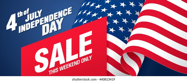 Fourth of July. Independence day sale banner template design