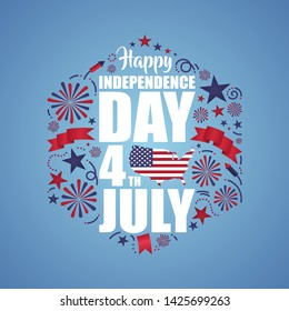 fourth of july independence day of united states of america background and wallpaper design with doodle style. 4th of july USA celebration cartoon style. editable eps 10 vector.