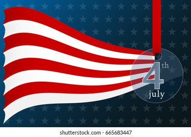 Fourth of july independence day of the usa banner. Realistic glass medal. Vector illustration