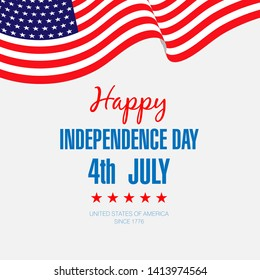 Fourth of July Independence Day.Happy Independence Day Banner Vector illustration