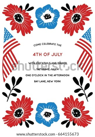 fourth july party invitation stock vector royalty free 664155673