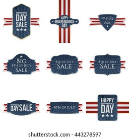 Fourth of July realistic Banners Set