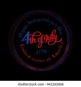 Fourth of July round background. Felicitation circle postcard. USA Happy Independence day greeting card. Vector illustration with flag color, lettering for congratulation american isolated on black
