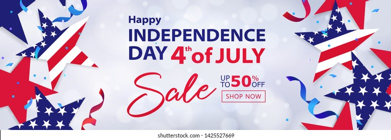 Fourth of July Sale long horizontal banner. 4th of July holiday background. USA Independence Day design for sale, discount, advertisement, web. Place for your text