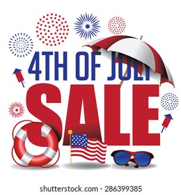 Fourth of July sale marketing header. EPS 10 vector.