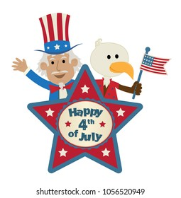 Fourth of July star shaped sign with uncle Sam and cute eagle holding  the American flag. Eps10